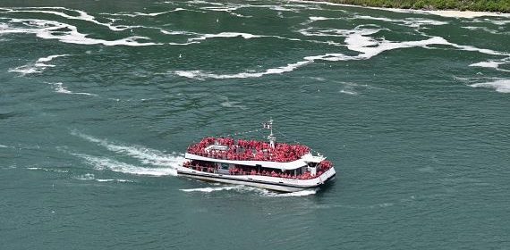 Hornblower Niagara Cruises takes riders to the base of the Niagara Falls.