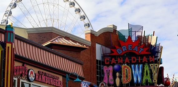 The Midway Arcade on Clifton Hill overlooks the strip.