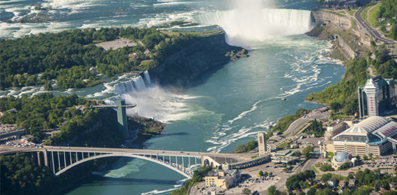 Niagara Falls aerial view offers beautiful scenery.